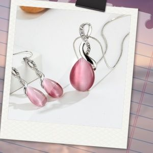 Pink Opal and Crystal Necklace and Earrings set